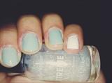 minty Blue + White Nails