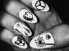 Natural Black Stamped Nails (no.2)