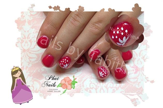 Red Daisy Princess Nails