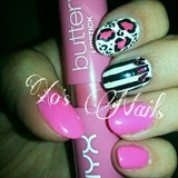 pink, blk, white