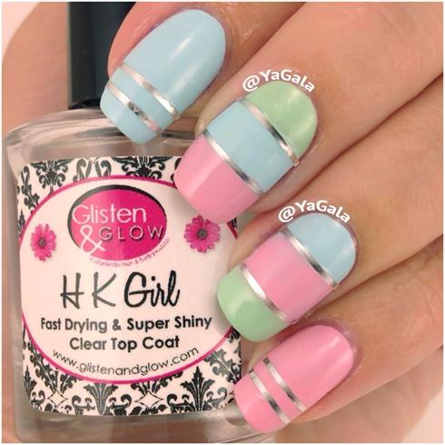 Color Blocking Pastel Nails