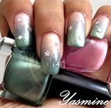 Pink mint pastel gradient nail art