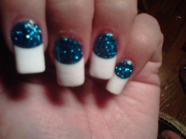french, blue glitter mix