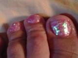 pink glittter splah on feet