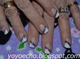 White & purple glitter nails