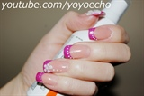 Hot Pink French with 3D flowers