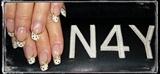 Akryl negle franske med glimmer