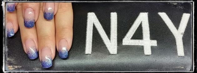 Akryl negle med Blå Glitter