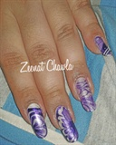 water marbling white and purple design