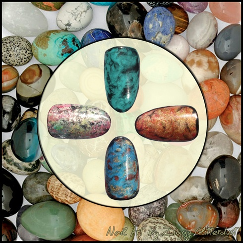 Semiprecious stones inspired nail art