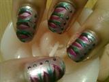 Zini Art Purple and Green Flicks Nails