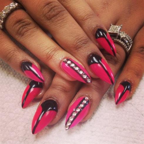 pink french black half moon