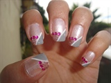 Diagonal French-Gray-Pink Glitter